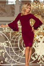 188-3 Burgundy Bodycon Dress with Flamenco Sleeves