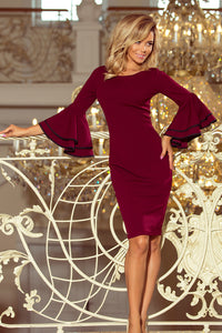 188-3 Bodycon Midi Dress with Flare Sleeves In Burgundy