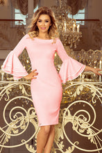 188-4 Pink Bodycon Dress with Flamenco Sleeves
