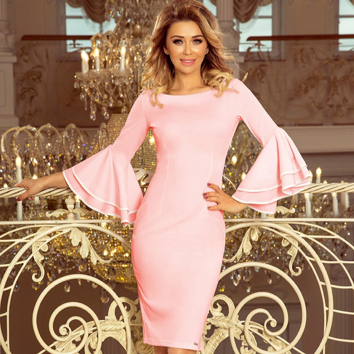 188-4 Bodycon Midi Dress with Flare Sleeves In Pink