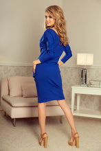 189-2 V-Neck Knee-Length Dress with Pockets In Royal Blue