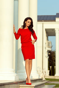 189-4 V Neck Knee-Length Dress with Pockets In Red