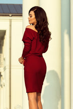189-5 V-Neck Knee-Length Dress with Pockets In Burgundy