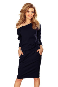 189-6 V-Neck Knee-Length Dress with Pockets In Navy