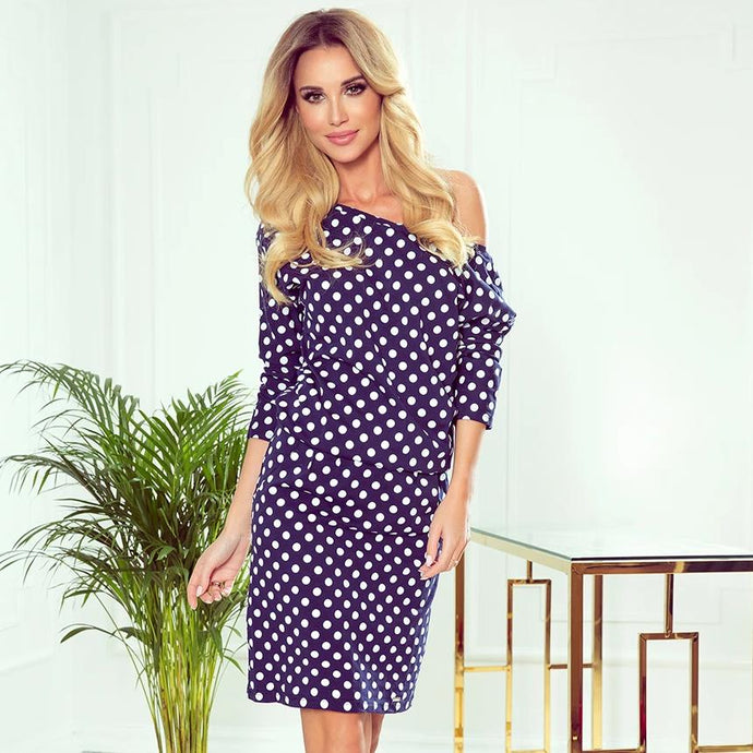 189-9 Polka-dot V Neck Knee-Length Dress with Pockets In Navy
