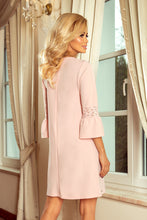 190-1 Mini Dress with Lace Detail Sleeve In Pink