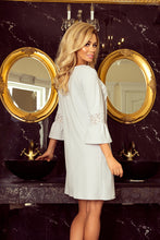 190-2 Mini Dress with Lace Detail Sleeve In Grey