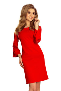 190-3 Mini Dress with Lace Detail Sleeve In Red