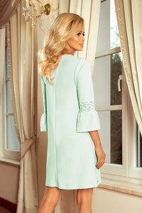 190-4 Mini Dress with Lace Detail Sleeve In Mint