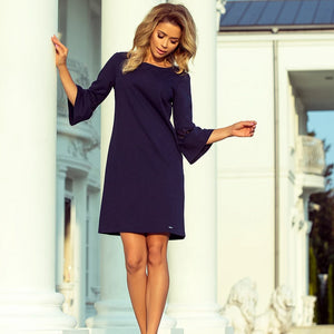 190-6 Mini Dress with Lace Detail Sleeve In Navy