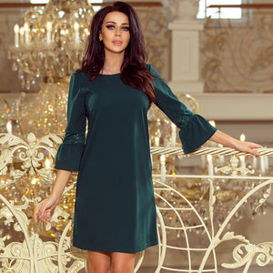 190-7 Mini Dress with Lace Detail Sleeve In Green