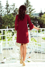190-8 Mini Dress with Lace Detail Sleeve In Burgundy