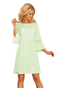190-9 Mini Dress with Lace Detail Sleeve In Green
