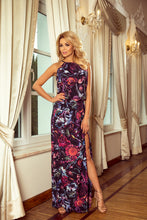 191-1 Purple/Multi color Floral Slit Maxi Dress