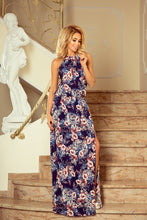 191-2 Navy Floral Slit Maxi Dress