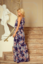 191-2 Halterneck Floral Slit Maxi Dress In Navy
