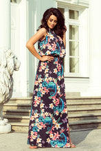 191-3 Halterneck Floral/Animal Print Slit Maxi Dress In Black/Blue