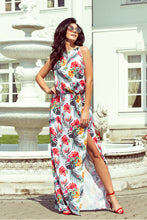 191-4 White/Red Floral Slit Maxi Dress