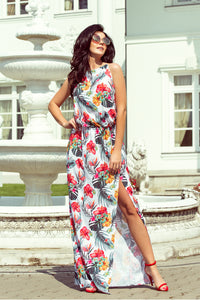 191-4 Halterneck Floral Print Slit Maxi Dress In White/Red