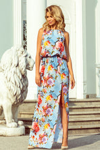 191-5 Blue Floral Slit Maxi Dress