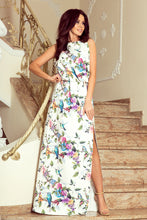 191-6 White/Blue Floral/Animal Slit Maxi Dress