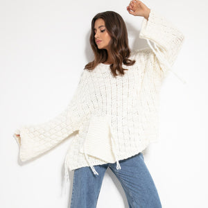 F1075 Chunky Knit Wide Oversized Alpaca-Blend Jumper In Ecru