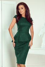 192-10 Green Faux Suede Peplum Midi Dress
