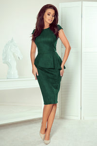 192-10 Faux Suede Peplum Midi Dress In Green