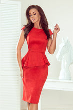 192-11 Red Faux Suede Peplum Midi Dress (Get 10% off €43.20)