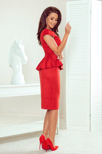192-11 Faux Suede Peplum Midi Dress In Red