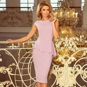 192-2 Asymmetric Peplum Midi Dress In Dusty Pink