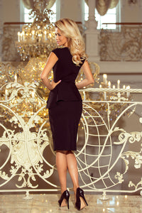192-3 Asymmetric Peplum Midi Dress In Black