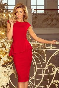 192-5 Asymmetric Peplum Midi Dress In Red