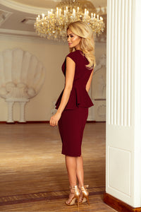 192-6 Asymmetric Peplum Midi Dress In Burgundy