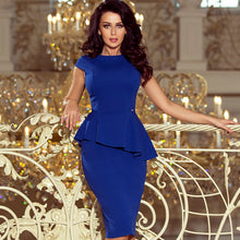 192-7 Asymmetric Peplum Midi Dress In Royal Blue