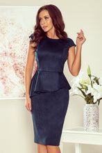 192-9 Navy Faux Suede Peplum Midi Dress