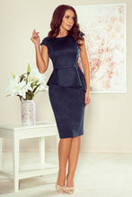 NEW 192-9 Navy Faux Suede Peplum Dress