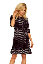 193-1 Polka-Dot Ruffle Hem Belted Mini Dress In Black