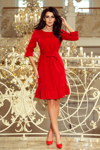 193-6 Ruffle Hem Belted Mini Dress In Red