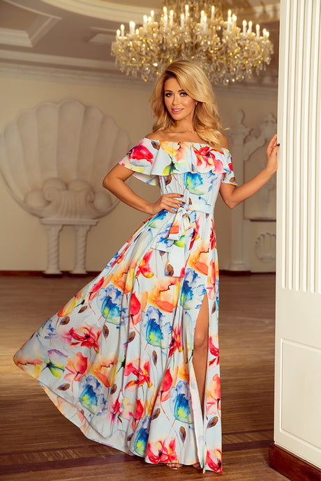 194-1 White/Blue  Floral Ruffle Of The Shoulder Neckline Maxi Dress