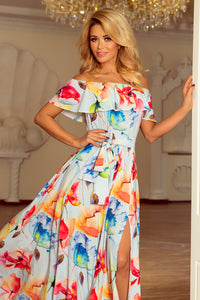 194-1 Off The Shoulder Floral Maxi Dress In White/Blue