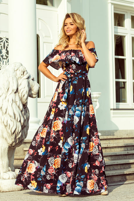 194-3 Off The Shoulder Floral Maxi Dress In Black
