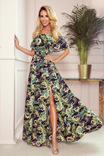 194-4 Black Floral Ruffle Of The Shoulder Neckline Maxi Dress
