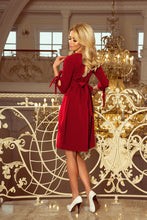 195-3 Tie Waist Mini Dress In Burgundy