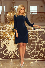 195-5 Tie Waist Mini Dress In Navy Blue
