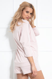 F1041 Cotton Two Pieces Set Sweatshirt & Shorts In Pink