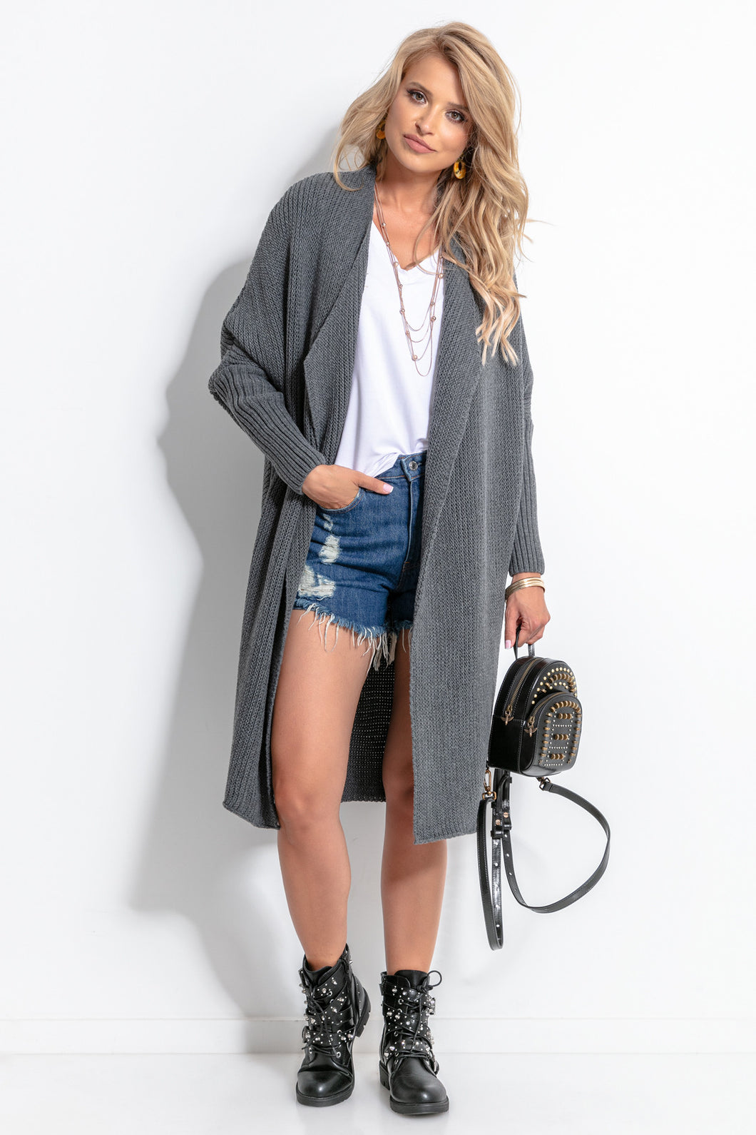 F762 Oversized Long Cardigan In Dark Grey