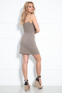 F1018 Lace-up Body-con Mini Dress In Brown