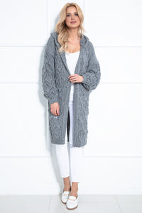 F1026 Hooded Long Cardigan With Eyelet Stitching In Gray