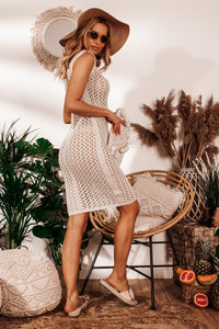 F1022 Body-con Beach Mini Dress In Beige